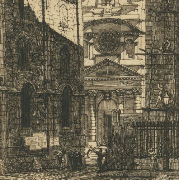Etching and drypoint - by MERYON, Charles - titled: Saint-Etienne-du-Mont