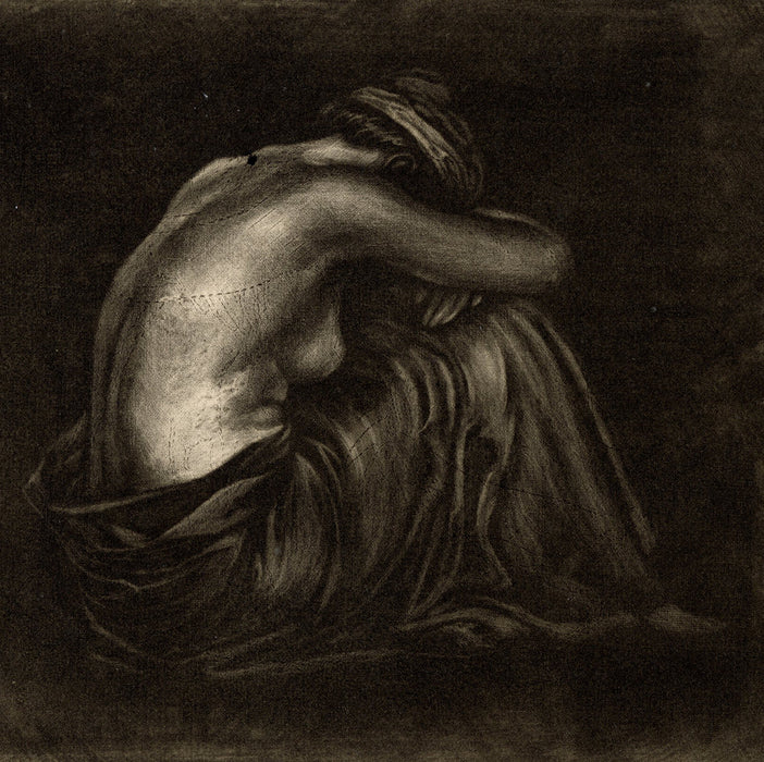 mezzotint by anonymous 20th century French artist - nude draped woman seated - detail