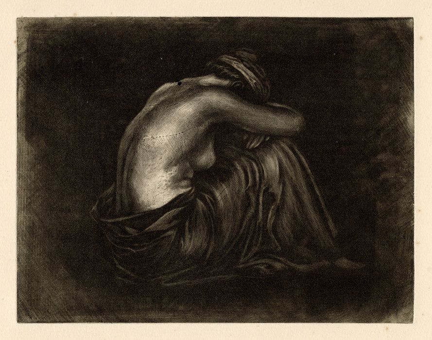 mezzotint by anonymous 20th century French artist - nude draped woman seated