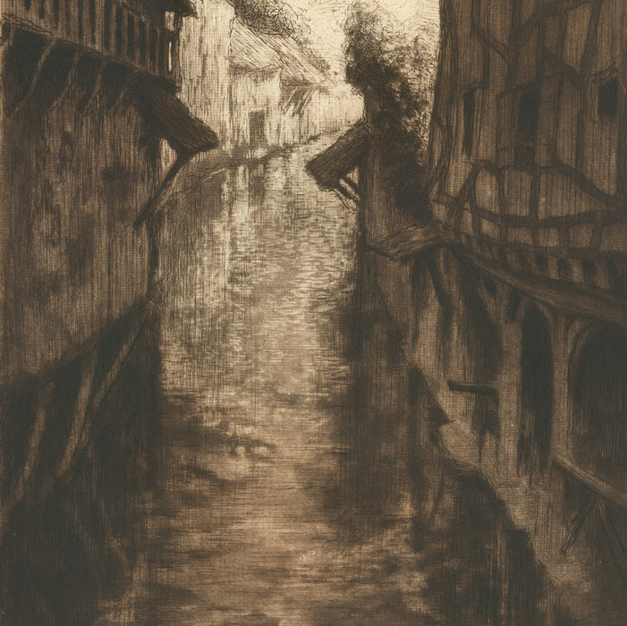 Etching, drypoint and aquatint - by MULLER, Alfredo - titled: Viosne River in Pontoise (brown)