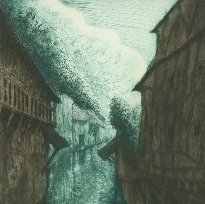 Etching, drypoint and aquatint - by MULLER, Alfredo - titled: Viosne River in Pontoise (contrasted)