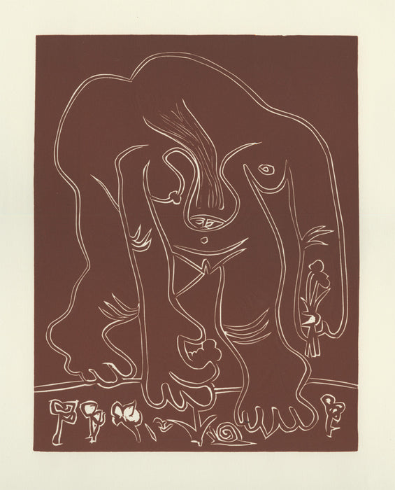 Color linocut - by PICASSO, Pablo - titled: Nude Woman Plucking Flowers