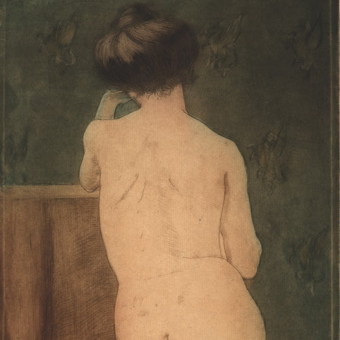 Color aquatint and etching - by McCLELLAN POTTER, Louis - titled: Nude with the Pegasus Wallpaper