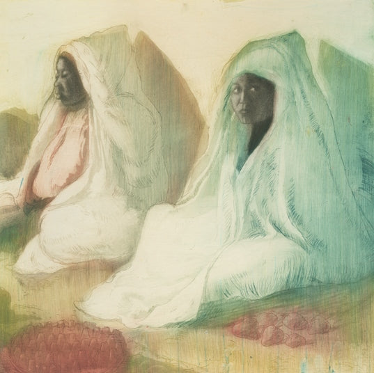 Color aquatint and etching - by McCLELLAN POTTER, Louis - titled: Three Women at the Market in Tunis (Tunisia)