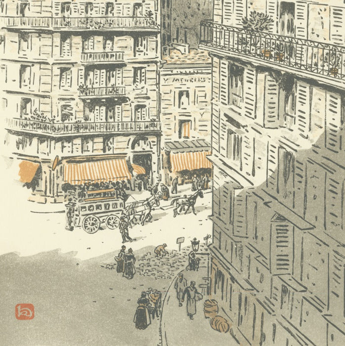 Color lithograph - by RIVIERE, Henri - titled: From Rochechouart Street