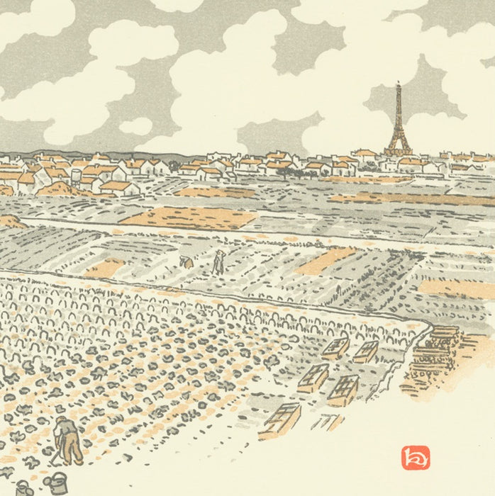 Color lithograph - by RIVIERE, Henri - titled: From the Vegetable Gardens of Grenelle