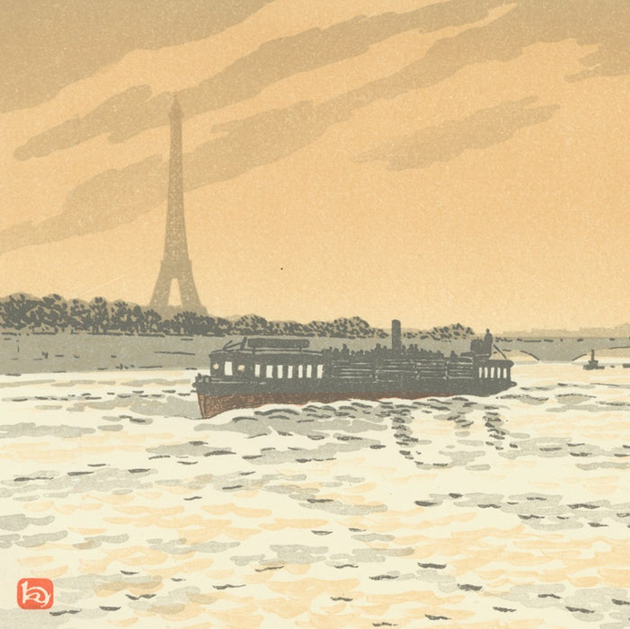 Color lithograph - by RIVIERE, Henri - titled: From the Quai de la Conférence