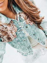 Sequin distressed denim jacket