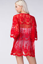Sheer lace cardigan - Red