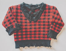 Distressed sweater - buffalo plaid