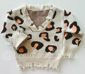 Distressed sweater - leopard