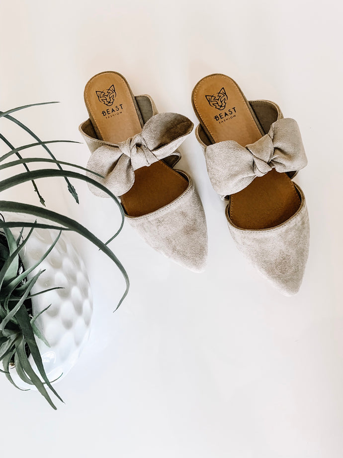 Suede Bow Sandals - Taupe