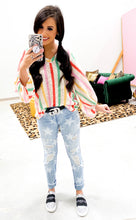 rainbow stripe bubble sleeve top