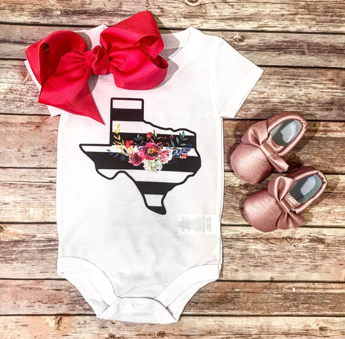 Floral striped Texas onesie
