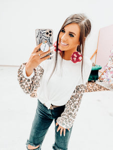 white leopard waffle knit top