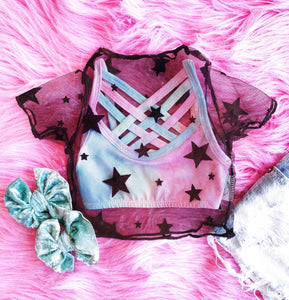 star mesh crop top