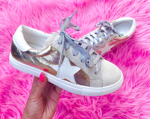gold metallic star sneakers
