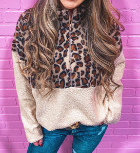 leopard/tan quarter zip sherpa