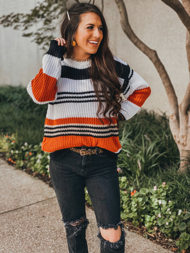 striped fall sweater - adult