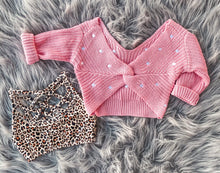 pink twist polka dot sweater