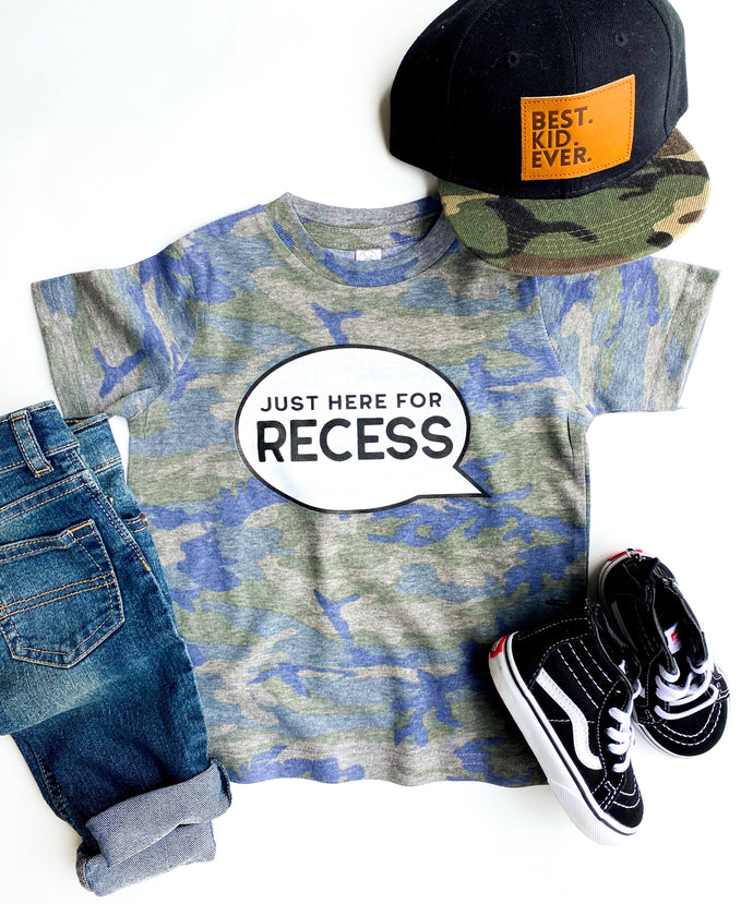 just here for recess tee