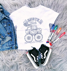 DIY COLOR YOUR OWN SHIRT - monster trucks
