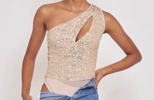 sequin one shoulder bodysuit
