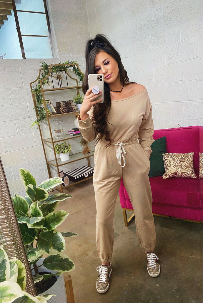 tan one shoulder jumpsuit