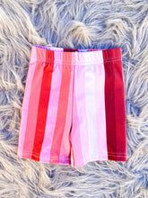 pink striped biker shorts - adult