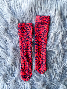 red leopard knee high socks