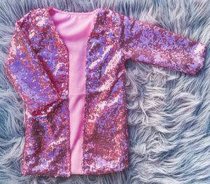 pink sequin duster