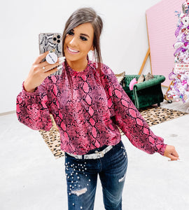 hot pink snake bubble sleeve top