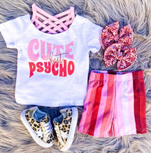 pink striped biker shorts - kids