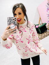 cream/hot pink star sweater