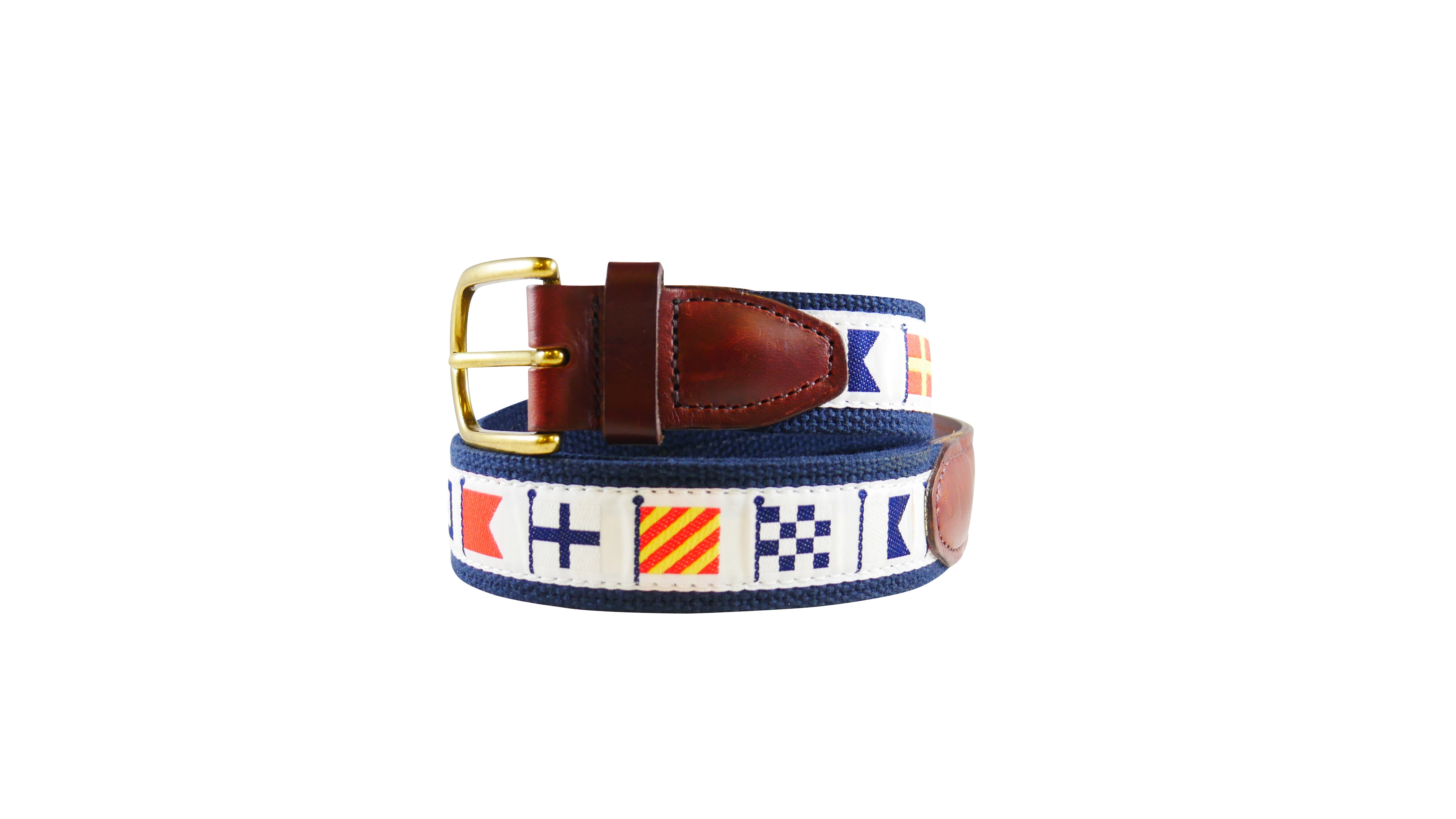 White Code Flag Ribbon Belt