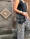 SIVAN BLACK LEATHER SADDLE BAG