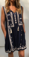 FRIDA EMBROIDERED NAVY DRESS