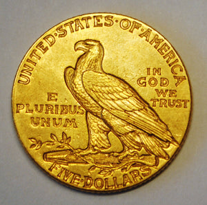 1911 $5 Dollar Indian Head Gold Half Eagle Coin