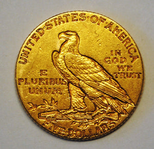 1913 $5 Dollar Indian Head Gold Half Eagle Coin