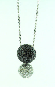 "14k White Gold Black & Clear Diamond Pendant .75ctw w/ 18"" 14k Gold Chain"