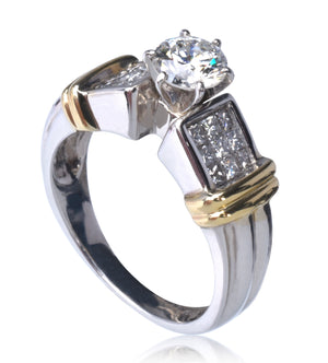 14k Diamond Engagement Ring .65ct H - SI2 Brilliant Round Cut Center - 1.15 tcw SIZE 7
