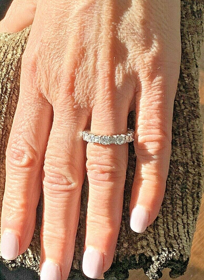Platinum Diamond Wedding Band Rounds & Princess 4.2 Carats VS Diamonds Sz 6