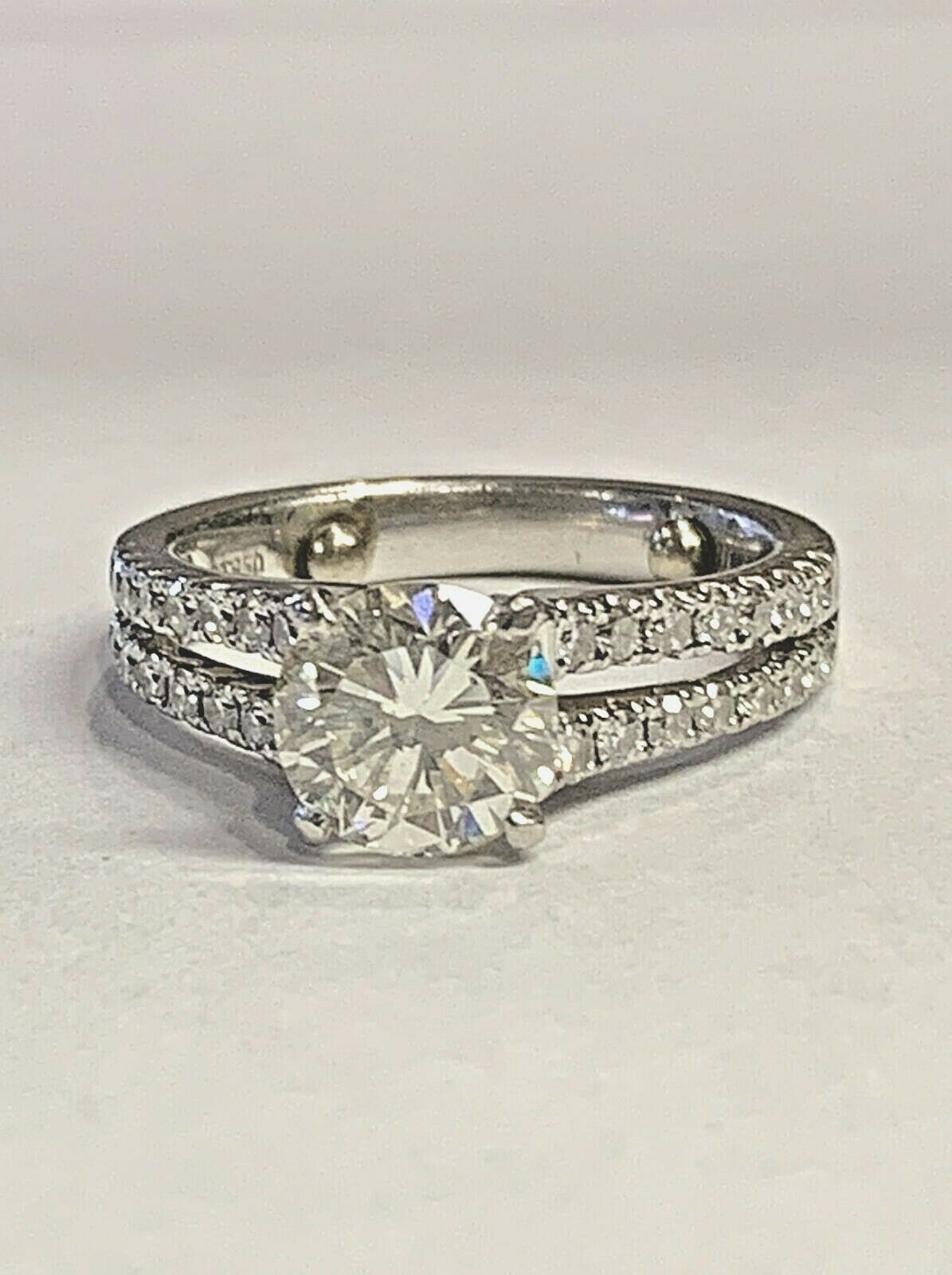 Diamond Engagement Ring 1.25 ct. J SI1 Center 1.65 tcw 950 Platinum Size 3