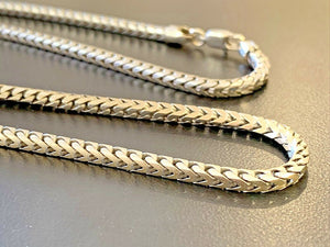 "14k White Gold Square Franco Link Chain Long 32"" Inch, 57.2 grams, 3.2mm"