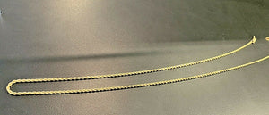 14k Solid Gold Diamond Cut Rope Chain - 24 inch, 8.9 grams, 1.75 mm