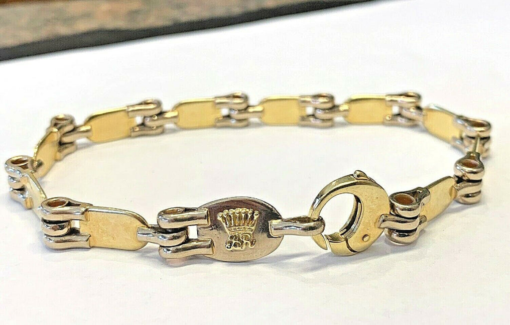 Unique Mens 18k .750 Solid Gold Mens Bracelet - 9 Inches - 40.2 - 7mm