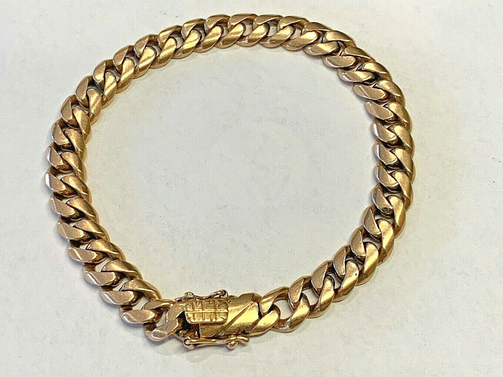 "Vintage 18k Solid Gold Rounded Cuban Link Bracelet 39.7 grams - 8 7/16"" - 8.17mm"