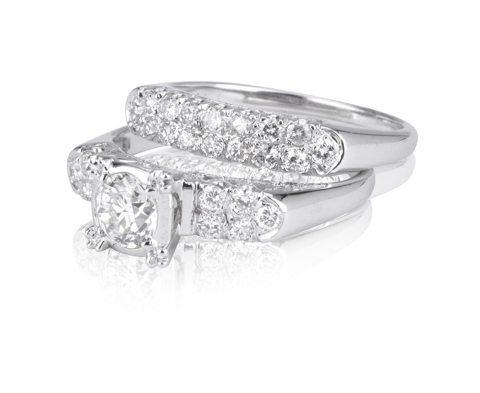 14k White Gold  Diamond Engagement Ring Set Size 6 3/4 1/2ct. center  1.25 tcw