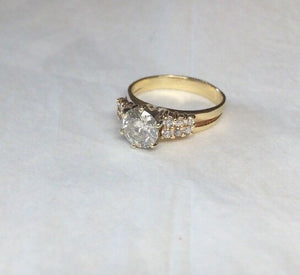14k Diamond Engagement Ring 1.3ct I - I1-2 Brilliant Round Cut Center - 1.55 tcw SIZE 6 3/4