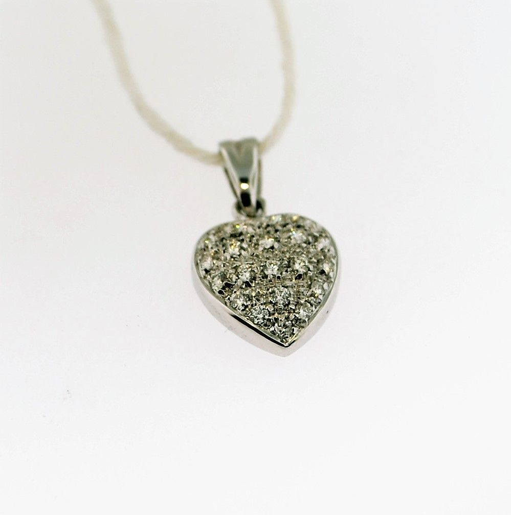 18k White Gold Diamond Heart  .37tcw Diamonds H - VS2